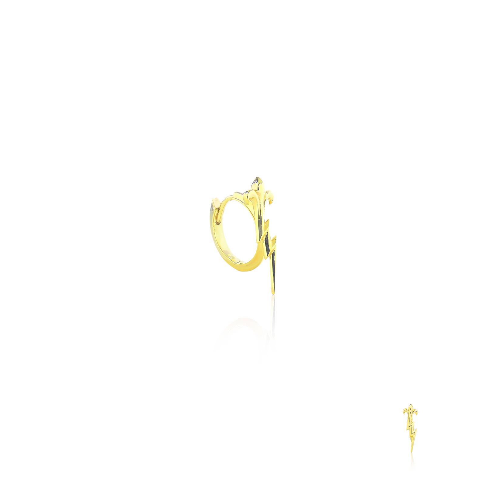 Zeus's Thunderbolt Huggie earring - Oversized - 24 Karat Gold